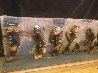 "AUTOMATA, AUTOMATON / Wood Carving The Chain Gang by Dr Niblack  ""WATCH VIDEO"""