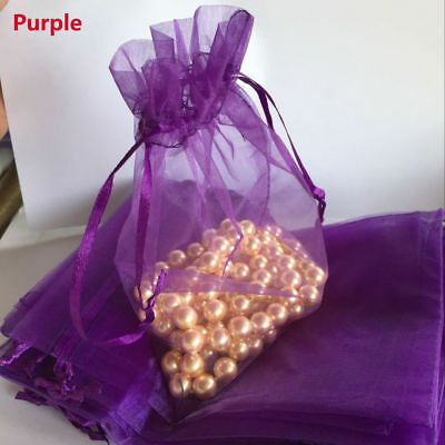 Purple 50pcs 13*18cm Drawable Organza Christmas Gift Bag Jewelry Candy Pouch
