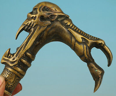 Old Bronze Collection Handmade Carved Evil Person Statue Walking Stick Head