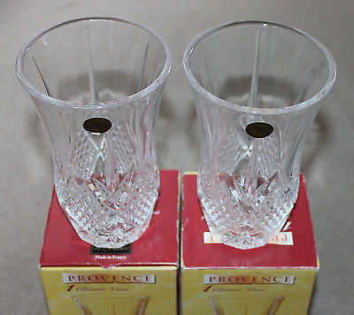 A Pair of 17cm Provence CRISTAL-DE-FRANCE Classic Vases in Boxes UNUSED