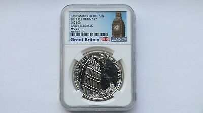 2017 Great Britain £2 Silver Landmarks Big Ben Early Release NGC MS70 1 oz #004
