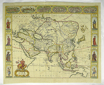 Kontinent Asien China Russland Kupferstich Karte Map Of Asia De Wit 1690 #c840S