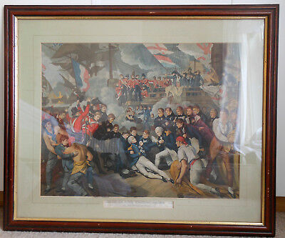 1800s, DEATH OF LORD NELSON AT BATTLE OF TRAFALGAR, LARGE COLOUR PRINT, FRAMED