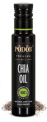 Podor Premium Cold-Pressed Chia Seed Oil in dark bottle 100ml, Nature and Clear