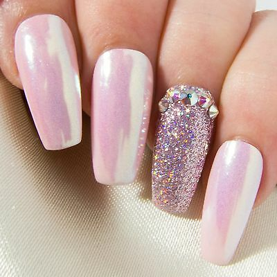 Pink Iridescent Chrome AB Crystal Press On Gel Acrylic Fake False Glue Nails Set