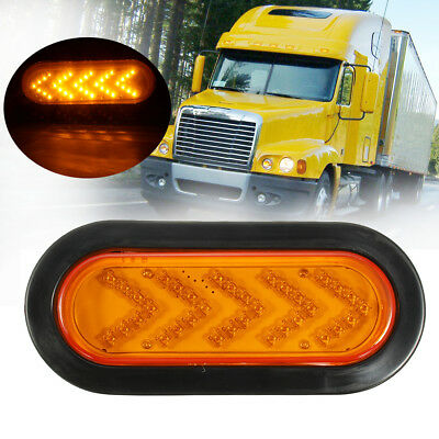 """Stop Tail Arrow Turn Signal Light Truck Trailer Amber 6"""" Oval Yellow 35 LED Lamp"""