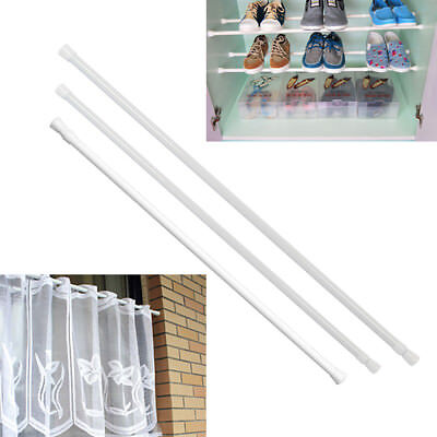 Spring Loaded Net Rod Voile Shower Bath Curtain Rail Extendable Telescopic Poles