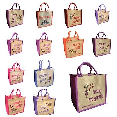 Jute Shopping Bag FAMILY MEMBERS 'These Bags are Great' Good Size FREE DELIVERY