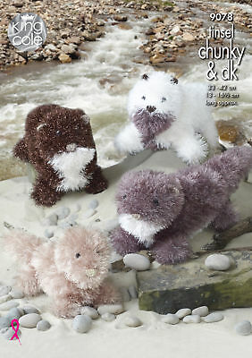 Knitting Pattern Small or Large Otter Toys Teddy King Cole Tinsel Chunky 9078