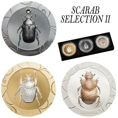 Scarab Selection II $5 1oz 3 Pure Silver Coin Proof Set Cook Islands 2017