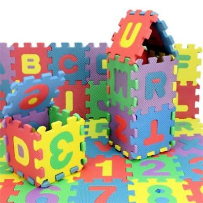 36 x EVA Foam Letters Numbers Interlocking Mats Tiles Childrens Kids Set 3yo+
