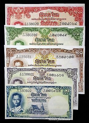 THAILAND Full-Set of Series 9 (1953-74) Thailand Banknote – 5 Banknotes – EF