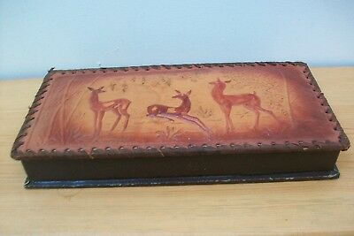 Vintage French Leather Hand made & decorated glove? box. Deer Group design. #36