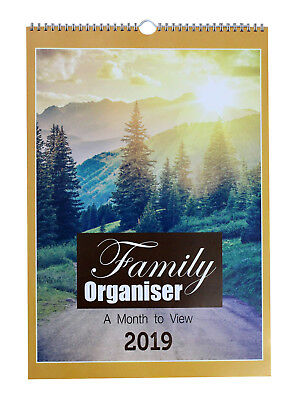2019 Family Organiser Large A3 Spiral Planner Calendar 5 Columns Month to View