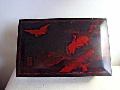 Japanese Lacquer Box Wood Decorated with Birds Pine Tree & Japanese Character