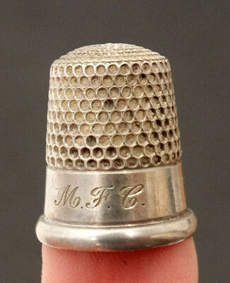 ANTIQUE Vintage VICTORIAN Engraved STERLING SILVER Heavy SEWING THIMBLE