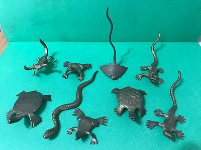 Lot of 11 Vintage Brass Animal - Insect - Reptile  Figurines from India