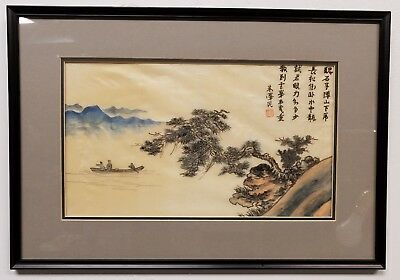 Signed Antique Original Chinese Watercolor on Silk with Boatmen on River