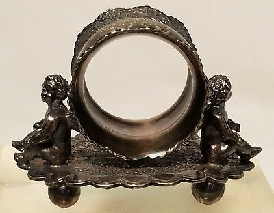 Antique Rogers Brothers Silver Triple Plate Napkin Ring with Angels Putti #01536