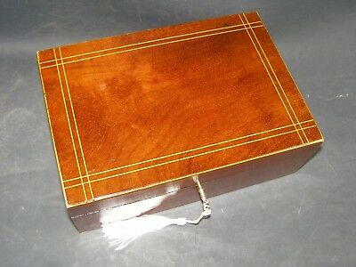Antique Mahogany Box Working Lock & Key 1890 With Boxwood Stringing On The Lid