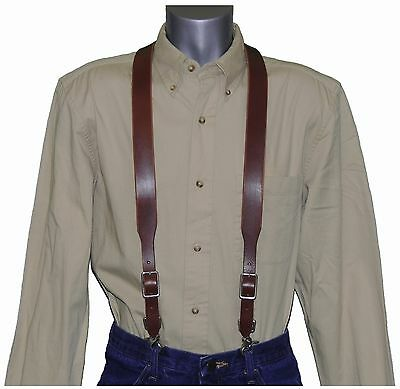 2nds Brown Leather Suspenders with scissor snaps  trigger snaps (Special)