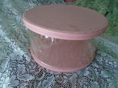 VTG CLEAR PLASTIC HAT BOX w/PINK COATED CARDBOARD TOP & BOTTOM  <>ON SALE<>