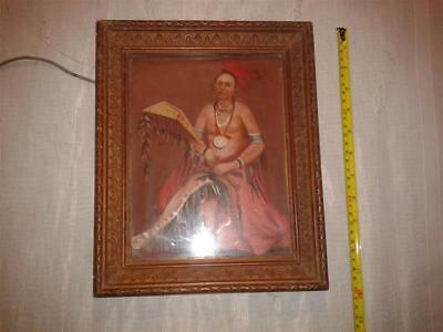 Vintage American Indian Framed Oil Painting On Board. Unsigned.