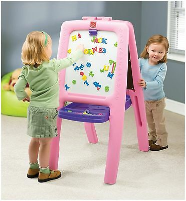 Step2 Step Plastic Pink Art Easel HAS HOLE Two Kids Toy Chalkboard Dry Erase