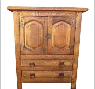 Mission Style Arts & Crafts Vintage Oak Cabinet Server