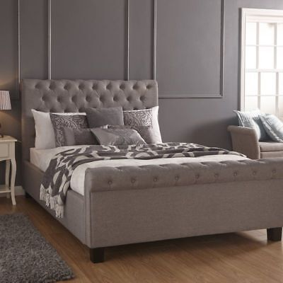Metal Upholstered Bed Double Size Silver Polyester Wood Store Bedroom Furniture