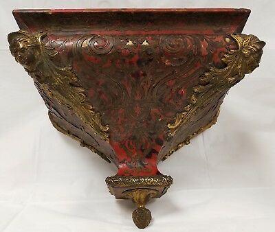Antique Boulle Inlay Clock Shelf Bracket with Bronze Mounts