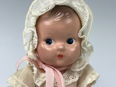 "Vintage Effanbee F&B  Baby Tinette All Original Composition 7"" Doll"