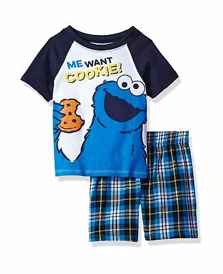 Sesame Street Baby Boys' 2 Piece Cookie Monster Tee and Plaid Short Set Navy
