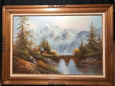 LARGE VINTAGE OIL CANVAS LANDSCAPE PAINTING GERMAN Mountain cabin Fall Lake