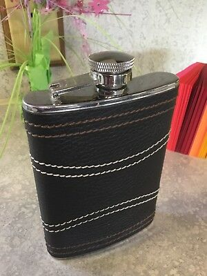 Vintage Leather Covered Flask Stainless Steel 8oz