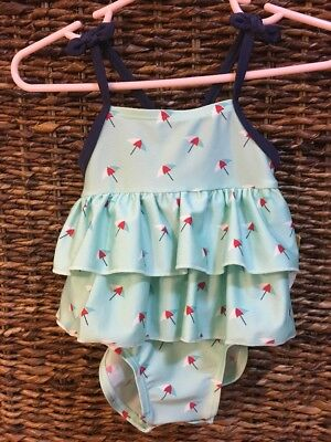 Infant Girls Cat & Jack NWT Umbrella Graphic Green Navy Bathing Suit 6-9 Months
