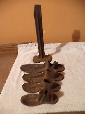 Antique Cast Iron Shoe Cobbler Forms and Stand