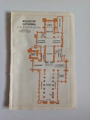 Rochester Cathedral Plan, 1924 Vintage  Map,  Original