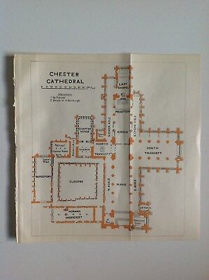 Chester Cathedral Plan, 1924 Vintage  Map,  Original