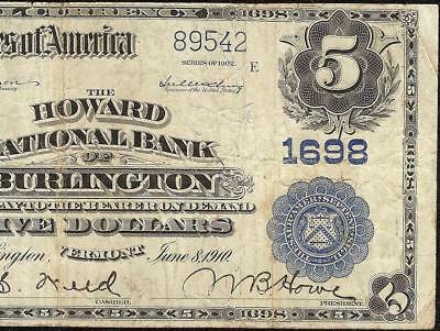 1902 $5 Dollar Howard National Bank Note Burlington Vermont Currency Paper Money