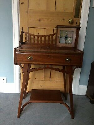 Beautiful antique ARTS & CRAFTS Writing desk with quirky leaded glass cupboard