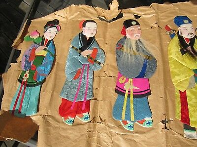 EARLY 1900's NINE CHINESE SILK '' IMMORTALS'' DOLLS ON ORIGINAL PAPER EXCELLENT