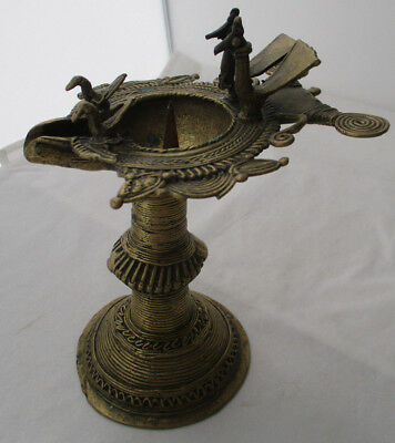 Antique Bronze Oil Lamp Candle Holder With Birds & Peacocks - India
