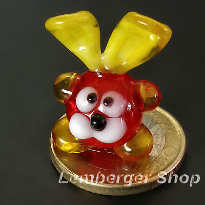 Glass figurine MINI rabbit made of colored glass . Height 2,5 cm / 1 inch! Gift