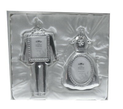 Mini MR & MRS clothes shape wedding crystal photo frames, new and boxed,