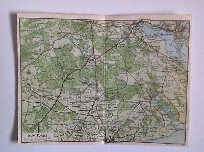 New Forest, 1924 Vintage Map, Bartholomew,  Original