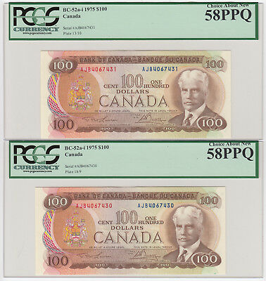 Lot of 3 Consecutive 1975 Bank of Canada $100 PCGS Graded Choice AU58PPQ
