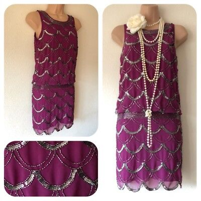 NWT Frock & Frill Sequin Beaded Embellished Dress 20's Gatsby in 8 Deco Flapper