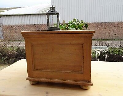 Small Antique Stripped Pine Hinged Box Ideal Coffee Table Toy Storage