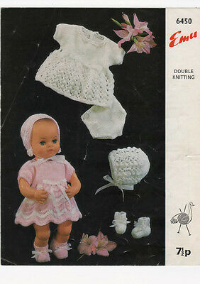 """VINTAGE KNITTING PATTERN  COPY TO KNIT 12"""" PEDIGREE  DOLL OUTFIT -1960's"""